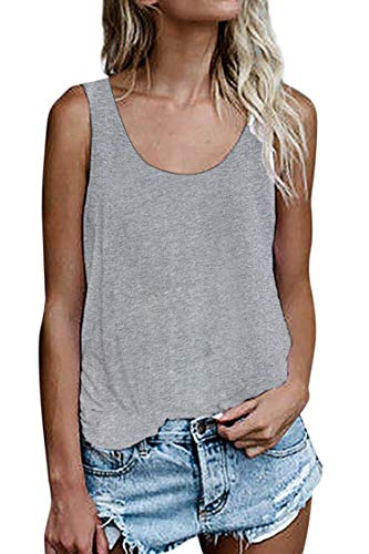 Damen Shirts Ärmellose Sommer Tunika Loose Fit Tank Tops (786Grau, Small)