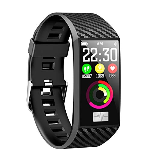 PINGTANG Fitness Tracker, ECG&PPG Heart Rate Monitor 1.14 inch Large Screen, IP68 Waterproof, Step Counter, Calorie Counter, Sleep Monitor, Pedometer, Smart Watch for Kids Women Men,Black