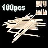 100 piezas de palitos de madera de naranja Nail Art Cuticle Stick para removedor de empujador Manicure Pedicure Palos de madera de doble cara - Madera