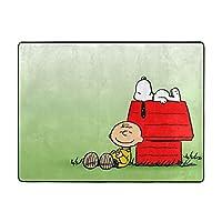 眠っていたスヌーピー2 カーペット オールシーズン 暖かい ふわふわ 滑り止め付 おしゃれ かわいい 肌触りが柔らかい ラグマット 120x160x1.5cm