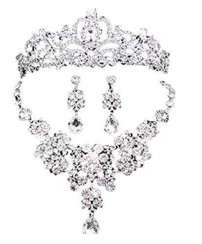 Claurys ティアラ ジュエリー ネックレス ピアス ウェディング 小物 3点セット 結婚式 パーティ (イヤリング)