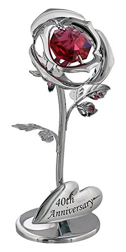 Haysoms Modern 40th Anniversary Silver Plated Flower with Red Crystal Glass