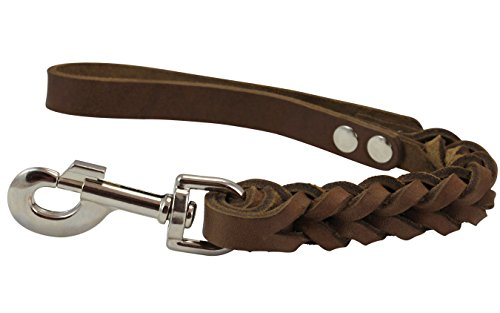 """Dogs My Love Brown Leather Braided Dog Short Traffic Leash 12"""" Long 4-Thong Square Braid"""