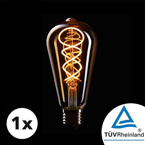 CROWN LED Edison Glühbirne E27 Fassung, Dimmbar, 4W, 2200K, Warmweiß, 230V, EL17, Antike Filament Beleuchtung im Retro Vintage Look