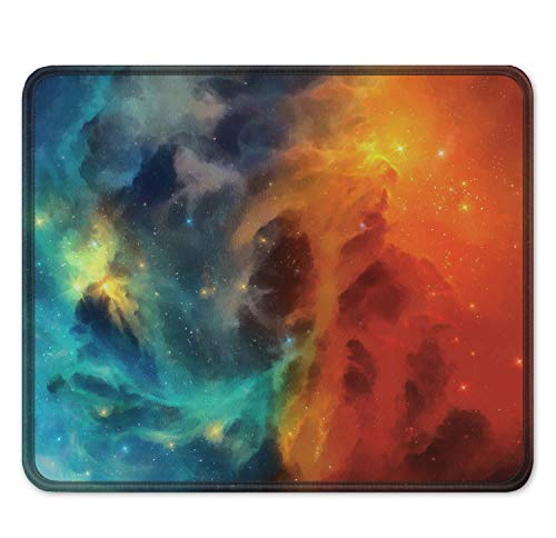 """Auhoahsil Gaming Mouse Pad, Square Outer Space Mousepad Anti-Slip Rubber Mouse Mat with Stitched Edges for Office Laptop Computer PC Men Women Kids, 11.8"""" x 9.8"""", Colorful Custom Galaxy & Stars Design"""