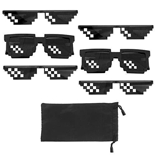 Thug Life Gafas de Sol, PTN Gafas de Sol de Píxel de Matón, Cool Thug Gafas, 6 Vasos y 1 Bolsa Pixel Mosaic Unisex Gafas de sol de Juguete para Niños y Adultos