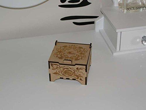 Joyero de recuerdo caja de madera cortada con láser con una tapa ...