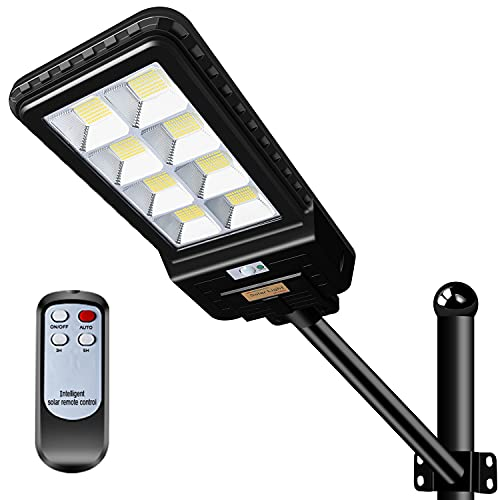 400W LED Solar Street Lights, Outdoor Dusk to Dawn Pole Light with Remote Control with Motion Sensor for Garden, Ideal for Parking Lot, Stadium, Yard, Garage and Pathway (Mounting Arm Included)