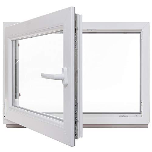 Kellerfenster - Kunststoff - Fenster - weiß - BxH 700x700 / 70x70 DIN Rechts - 3-Fach-Verglasung - Wunschmaße möglich - Lagerware