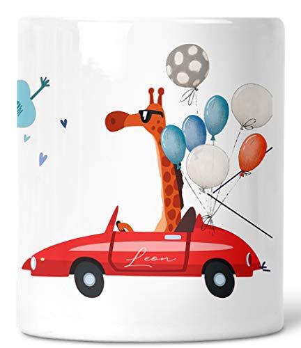 Zarto® Geschenk Geburt - Baby- Spardose lustig - Auto Tiere cool - Kinder Junge/Boy Mädchen personalisiert mit Name - Sparbüchse Sparschwein