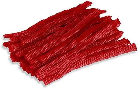 Happy Bites Red Raspberry Licorice Twists Certified Kosher Gourmet Low Fat Made with Real Fruit product image