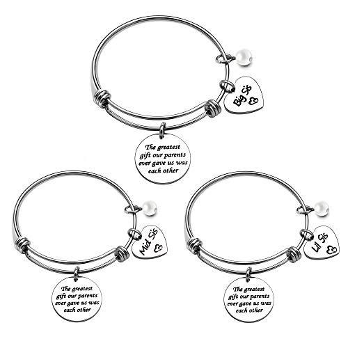 KENYG Juego de 3 pulseras de plata ajustables para hermana grande y hermana media