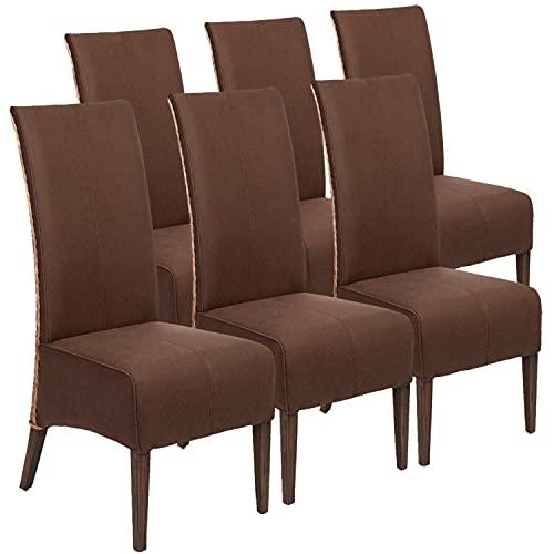 casamia Rattanstühle 6er Set Esszimmer Stühle 6 Stück Polsterstühle Antonio braun Polster Wildleder-Optik
