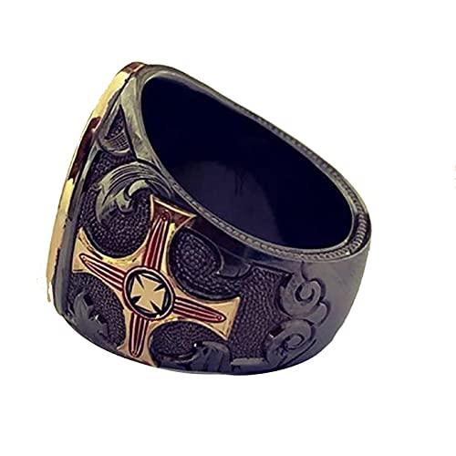 Ahorre y proteja los anillos del motorista del arcángel para hombre Knigts anillo de acero inoxidable templario joyería del ángel guardián13Gold-color