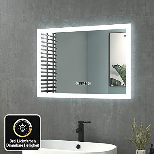 Badspiegel mit Beleuchtung 70x50cm Wandspiegel Badezimmerspiegel mit Touch + Beschlagfrei + Uhr + 3 Lichtfarbe Dimmbar LED Lichtspiegel IP44 Energiesparend Energieklasse A++