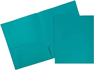JAM PAPER Plastic 2 Pocket School POP Folders - Teal Blue - 6/Pack