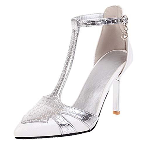BeiaMina Damen Mode Thin Absatzhöhe Sandalen T-Spange Ankle Sandalen Two Tone Spitze Party Abend Kleid Schuhe White Gr 48 Asiatisch