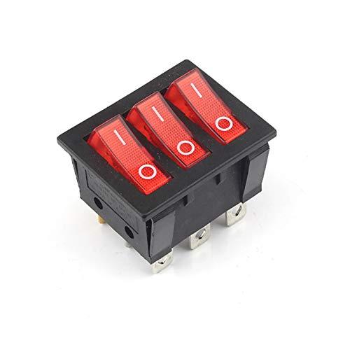 YSYSPUJ Interruptores de Balancín Grande Rojo del Interruptor de Tres vías 9 Pin 2 Posición de un Solo Tiro 15A 250V 20A 125VAC AC ON-Off