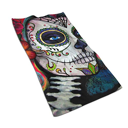 Sugar Skull Candy Kitchen Towels 15.7X27.5in Microfiber Terry Dish Towels for Drying Dishes and Blotting Spills Dish Towels for Your Kitchen Decor
