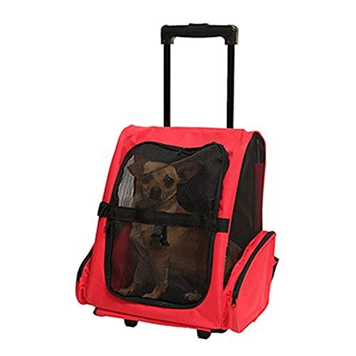 WLDOCA Mochila con Ruedas para Mascotas Cochecito para Mascotas con Asa Telescópica, Cómoda Mochila para Gatos, Diseñada para Gatos, Perros, Gatitos, Cachorros,Rojo,50 * 43 * 30cm