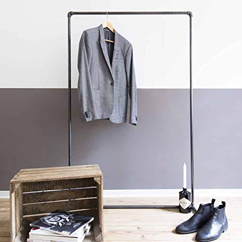 moebeldeal Industrial Design Kleiderständer - Kleiderstange Wasserrohre Wasserrohr Möbel Garderobe Kleiderschrank Stahlrohr verzinkt Silber Industrie Look - Stahl