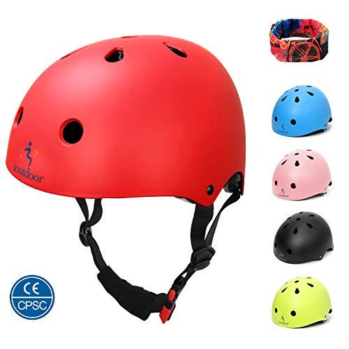 ioutdoor Kinderhelm, Fahrradhelm Einstellbar für Kleinkinder, Jungen, Mädchen, Jugendliche, CPSC-Zertifiziert, Schutzausrüstung, für Radfahren, Skaten, Snowboarden (Rot, L:58-61cm/22.4''-24'')