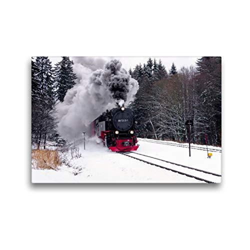 Premium Textil-Leinwand 45 x 30 cm Quer-Format Brockenbahn | Wandbild, HD-Bild auf Keilrahmen, Fertigbild auf hochwertigem Vlies, Leinwanddruck von LianeM