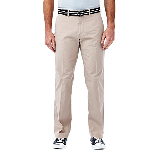 Haggar Men's Solid Stretch Belted Poplin Flat Front Straight Fit Pant, Khaki, 38x34