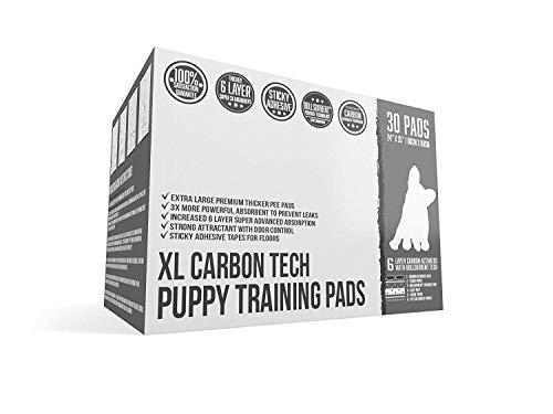 Empapadores de entrenamiento con Carbón Activado (Carbon Black Puppy Pee Pads) Bulldogology con cinta adhesiva - Esterillas extra grandes para entrenamiento de perros (24x35) con 6 capas de secado rápido de polímeros con tecnología Bullsorbent