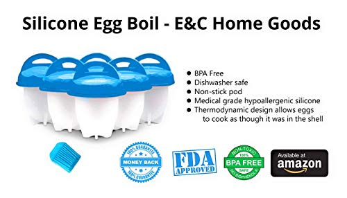 SILICONE EGG BOILER BY E&C HOME GOODS | SILICONE EGG POACHER CUPS | BPA FREE NON STICK EGG CUP | BONUS OIL BRUSH INCLUDED | MAKE PERFECT EGGS EVERY TIME! [6-PACK, BLUE]