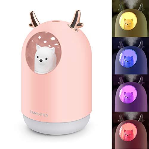 Humidificador Mini - Ultrasónico Humidificador de Niebla de 300ML Difusor de USB, Portátil Humidificadores Silencioso con Luces LED, Función de Luz Nocturna para el Hogar, Dormitorio, Oficina(Rosado)