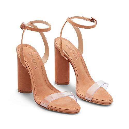SCHUTZ Women's GEISY Heeled Sandal, Toasted nut, 9 M US