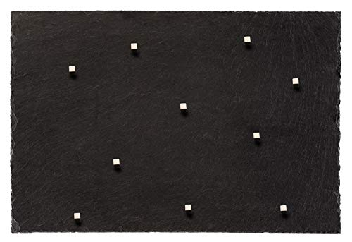 Board Boulevard Schiefer Magnettafel (Echt Massiver Stein) ! 60 cm x 40 cm - Pinnwand Kreidetafel inkl. 10 Neodym Magnete aus Spanischem Bergbauvorkommen