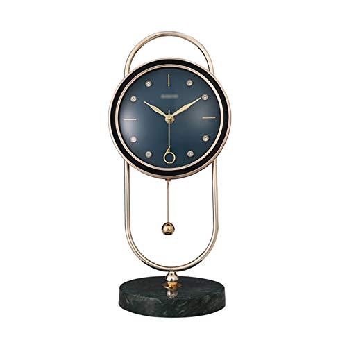 Escritorio Reloj Mármol Lujo Columpio Mesa Reloj hogar Sala de Estar decoración de Moda péndulo Reloj Tabletop Reloj de exploración Reloj Despertador Reloj Reloj Sobremesa (Color : Blue)