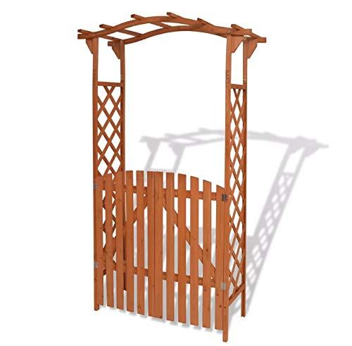 Arco de jardín, pérgola de jardín con puerta soporte de r