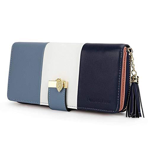 Pomelo Best Damen Geldbörse Mehrfarbig gestreift Portmonee (Typ 2 Blau)
