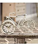 Bicycle Desk Clock - Classic Vintage Retro Old Fashioned Decorative Metal Antique Bicycle Desk Clock for Your Home Decor. Antique White Finish, Battery Operated and Easy to Read