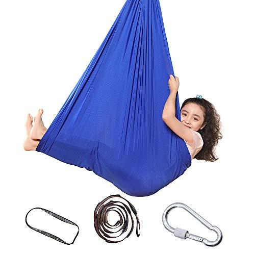 Topchances Columpio de terapia interior para niños y adolescentes, hamaca suave con necesidades especiales para niños, yoga, integración sensorial, camping al aire libre (1,5 metros, zafiro)
