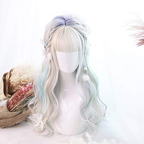 Perruque Femmes Lolita 60CM Aurora Couleur mixte Parti long onduleux synthétique de cosplay Bang perruque résistant à la chaleur Postiches