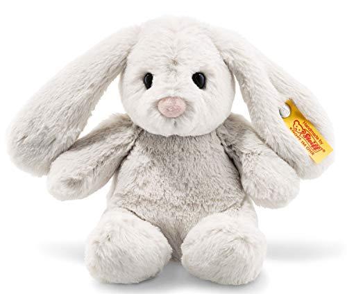 Steiff Hoppie Hase - 18 cm - Plüschhase mit Schlappohren - Kuscheltier für Kinder - Soft Cuddly Friends - beweglich & waschbar - hellgrau (080463)
