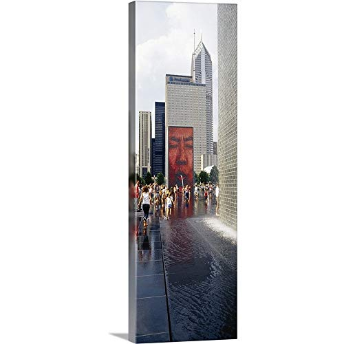 Group of People Playing in Water, Crown Fountain, Millennium Park, Chicago, Illinois Canvas Wal.