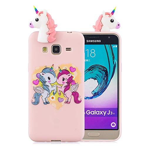 Funluna Cover Samsung Galaxy J3 2016, 3D Unicorno Modello Ultra Sottile Morbido TPU Silicone Custodia Antiurto Protettiva Copertura Gomma Back Cover per Samsung Galaxy J3 2016, Pink