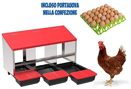 COPELE Copa Nido para gallinas ovales con 3 Compartimentos Modelo Platin incluida Bandeja recolecta Huevos
