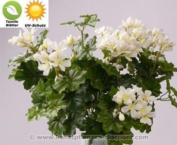Geranie Textilpflanze mit UV Schutz auf den Blättern, 116 weißen Blüten, Höhe 40cm - Kunsblumen künstliche Blumen Kunstpflanzen künstliche Pflanzen Blumen