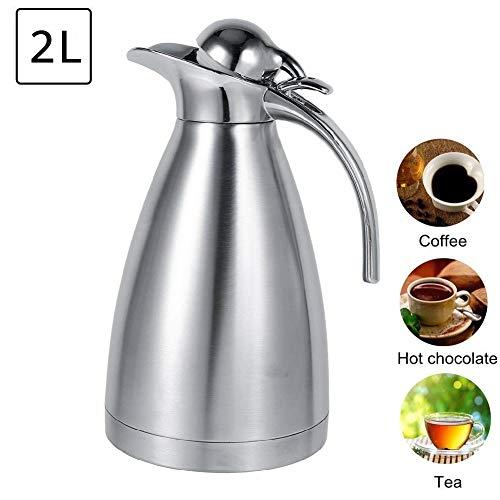 Geïsoleerde vacuümkan, roestvrijstalen koffietheepot van voedingskwaliteit, dubbelwandige, vacuümgeïsoleerde vacuümfles met warmwaterkruik, drukknopontwerp (zilver, 1,5 l)