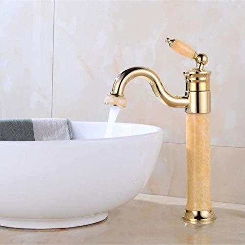 QTQHOME Küchenarmatur Bad Spülbecken Wasserhahn Waschtisch Retro Taiwan Kupfer Heißes Und Kaltes Wasser Golden Topaz Waschtischmischer
