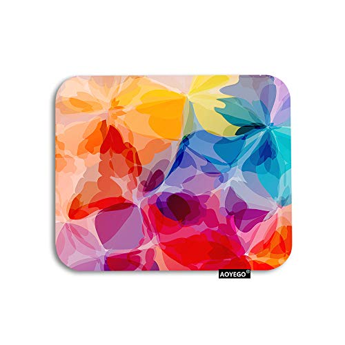 AOYEGO Floral Mouse Pad Vibrant Colors Watercolor Rainbow Flower Petals Gaming Mousepad Rubber Large Pad Non-Slip for Computer Laptop Office Work Desk 9.5x7.9 Inch