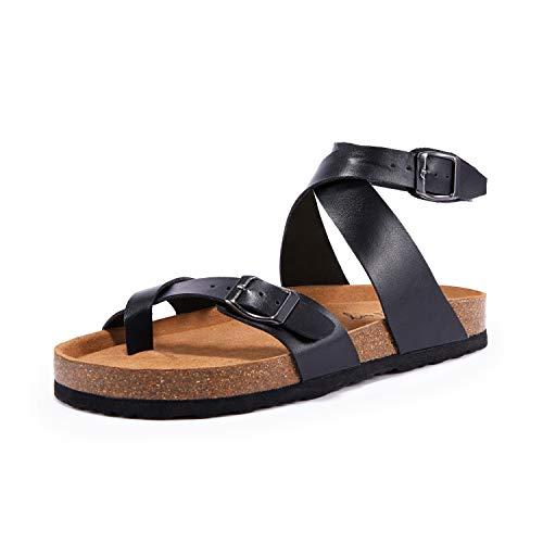 Ermonn Womens Flat Slide Sandals Adjustable Strap Buckle Open Toe Summer Gladiator Comfy Cork...