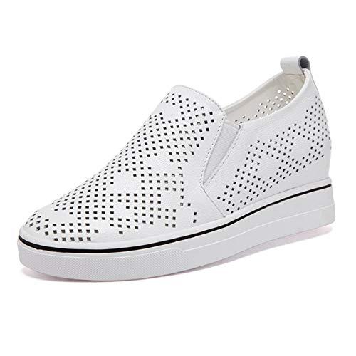 Zapatos de Mujer Tacón de cuña Elegante Hueco Primavera Verano Transpirable Uso Diario Resbalón en Estilo Universitario Zapatos Gruesos de Cuero Ligeros