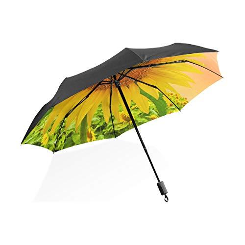 Riesen-Sonnenschirm Sonnenblume auf Feld Sonnenuntergang Himmel tragbare kompakte Taschenschirm Anti-Uv-Schutz Winddicht Outdoor-Reisen Frauen Golfschirm Winddicht